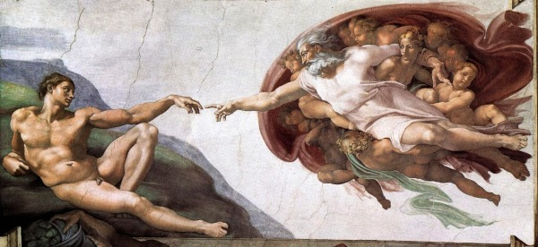 michelangelo+-+god+creates+man+--+darwin+reincarnation+karma