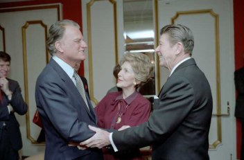 2/5/1981 President Reagan Nancy Reagan and Billy Graham at the National Prayer Breakfast held at the Washington Hilton Hotel