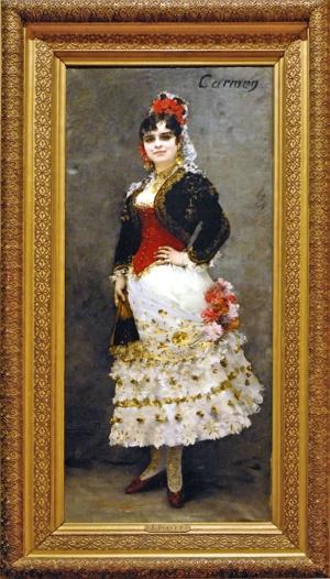 Célestine Galli-Marié dans le rôle de Carmen par Henri Lucien Doucet 1886 Peinture à l'huile sur toile Tableau réalisé en Italie L'opéra Carmen de Georges Bizet a été représenté à l'Opéra pour la première fois en 1875. livret de Prosper Mérimée
