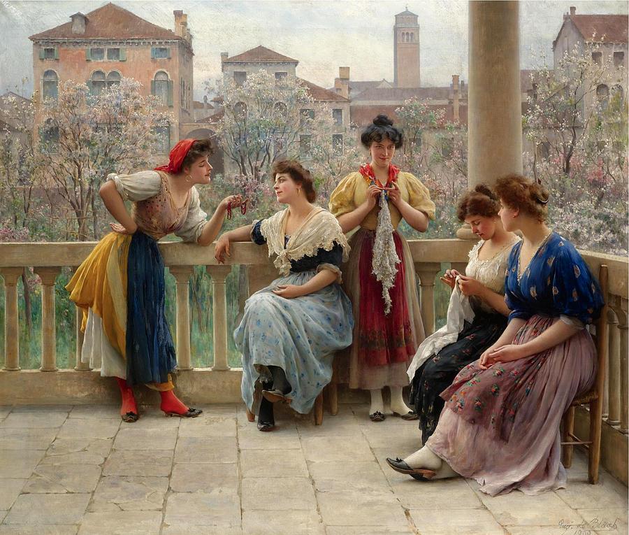 5 Conversation on the terrace, Venice_Eugene de Blaas